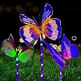 Mariposa LED Solar para Exterior, ZVO 3 Piezas Luces Solares de Jardín al Aire Libre, Lámpara Animales Ddecorativa, Luz de Estaca Multicolor, Iluminación Impermeable para patio, camino, césped
