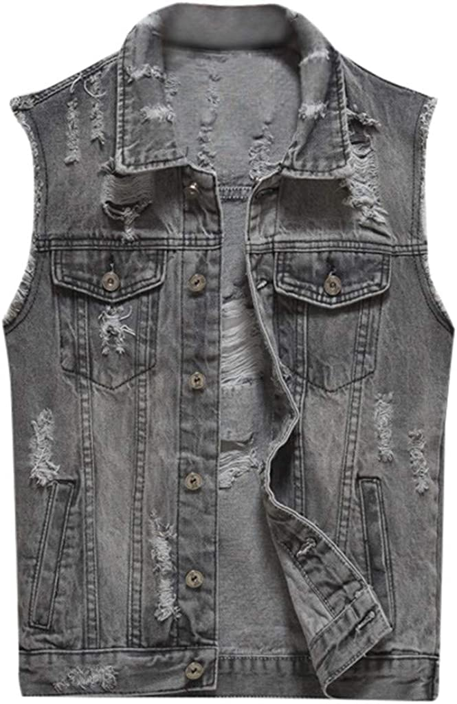 iQKA Men's Big&Tall Denim Vest Casual Cowboy Button Front Jacket Sleeveless Coat Outwear Blouse M-6XL