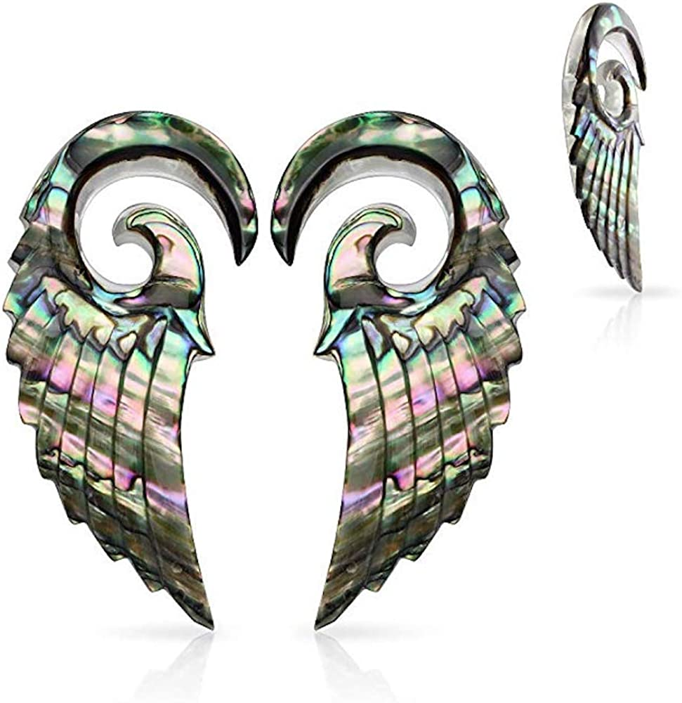 Covet Jewelry Pair of Organic Abalone Angel Wing Spiral Taper