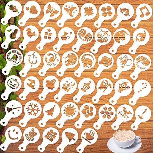 Coffee Stencils Latte Art - 45PCS Decoration Stencils, for Coffee Art,Cake Decoration,Cookie, 3.3 x 5.5 inch/ 8.5 x 14 cm