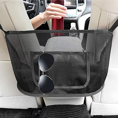 Organizador de malla para asiento trasero de coche con ganchos para bolsos y bolsas de asiento delantero (negro)