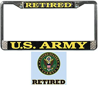 Mitchell Proffitt US Army Retired License Plate Frame Bundle with US Army Retired Decal Sticker/Decal
