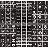 Henna Tattoo Stencils Kit, India Henna Cones Paste Temporary Tattoo Stencils, Glitter Body Face Painting Tattoo Stencils, Self-Adhesive Reusable Henna Tattoo Stencils Stickers (6 Sheets)