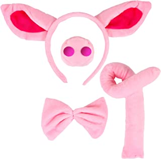 Animal Costume Set Pig Ears Headband Pig Nose Tail and Bow Tie Animal Fancy Costume Kit Party Accessories for Kids (Pig Costume),Pink One Size