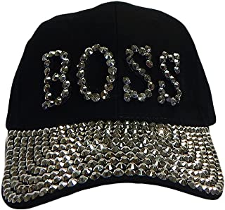 2bf3bbd49ce Something Special BOSS Bling Rhinestone Jewel Adjustable Baseball Cap Hat  (Black)