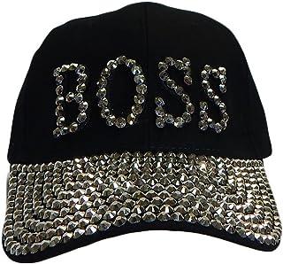 46ae3a4fd0981 Something Special BOSS Bling Rhinestone Jewel Adjustable Baseball Cap Hat  (Black)