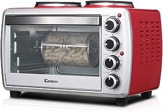 L.TSA Cocina Mini Horno de 25 litros con quemadores Dobles Cocina de inducción de Escritorio de 800 W y 1000 W 1800 W Funciones de cocción y asado múltiples Ajuste de Temperatura 0-250 ℃ y tempori