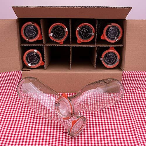 WECK 8er Set 1L Leere Glasflasche inkl. Verschluss und Dichtung - Zum selbst befüllen von Milchflaschen, Saftflaschen, Smoothie Flaschen