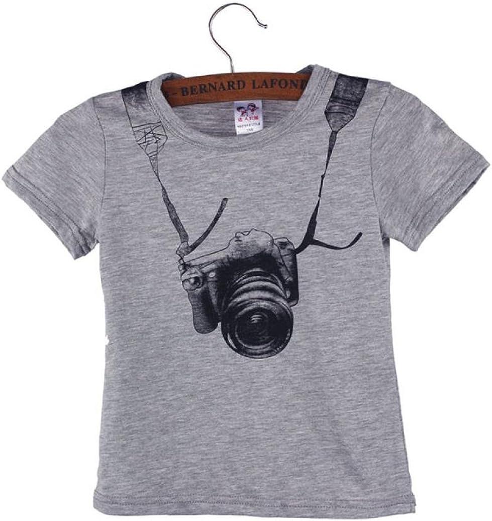 Yoyorule Summer Children Boy Camera Short Sleeve Tops T Shirt