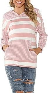 GHrcvdhw Ladies Loose Striped Stitching Large Pocket Hooded Long Sleeve Casual Sweatshirt Top
