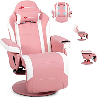 POWERSTONE Gaming Recliner Massage Sofa Ergonomic PU Leather Computer Chair with Cup Holder and Headrest and Side Pouch, Pink