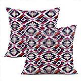 Fundas de almohada azteca 2 unidades de algodón tribales coloridos geométricos cuadrados fundas de almohada para el hogar, decoración de la sala de estar, dormitorio, sofá, silla, 50,8 x 50,8 cm