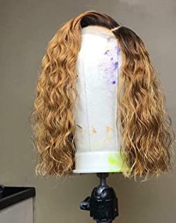 Dream Beauty Hair Short Lace Front Wigs Brazilian Human Hair Ombre 1B/27 Honey Blonde Loose Curly Wave Full Lace Wigs For Black Women (14 inch, front lace wig)