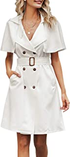 Women's Double Breasted Blazer Dress Cape Sleeve Belted Trench Dress Office Dress