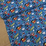 PRESTIGE - Tela de algodón, diseño de superhéroe, color azul turquesa