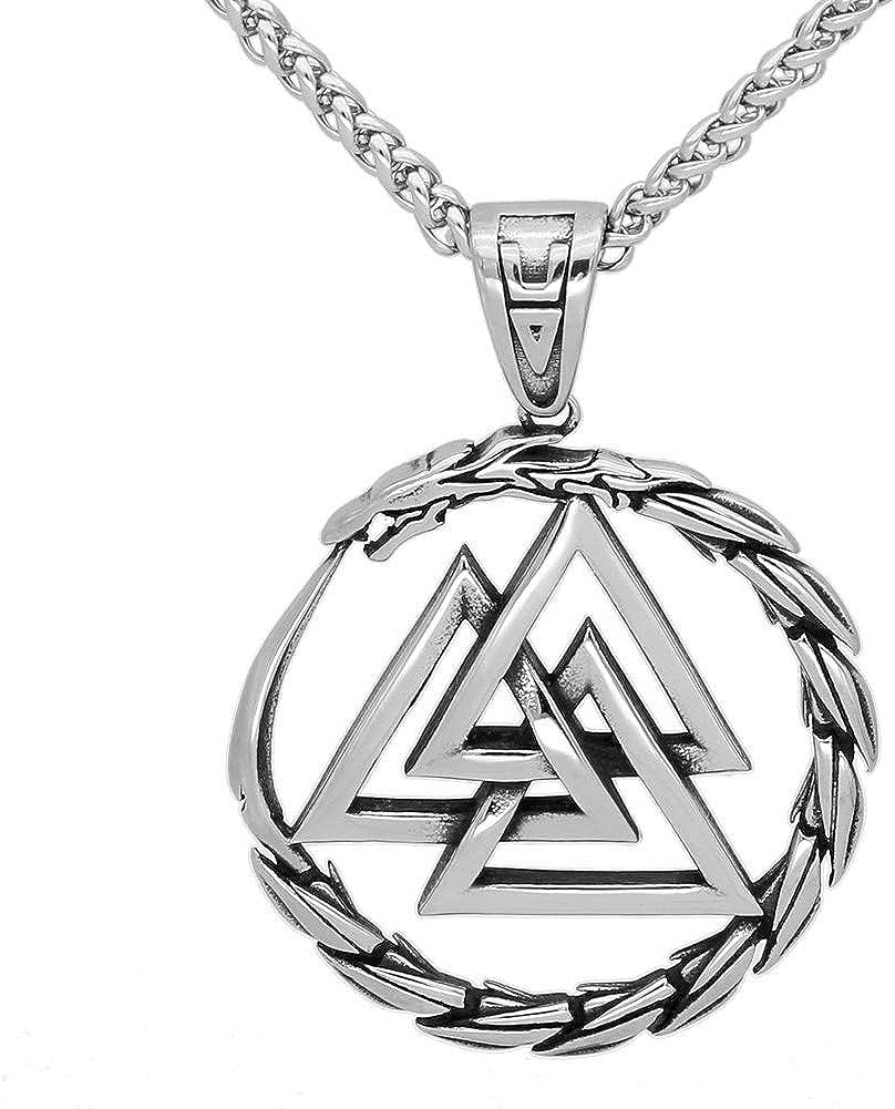GuoShuang Men Stainless steel Viking Valknut Amulet dragon Pendant Necklace
