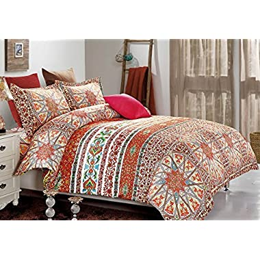 Bohemian Duvet Cover Set, Orange chic Mandala Medallion Printed Soft Microfiber Bedding with Zipper Closure (3pcs, Queen Size)