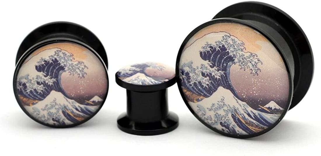 Mystic Metals Body Jewelry Black Acrylic Tidal Wave Picture Plugs - Sold as a Pair