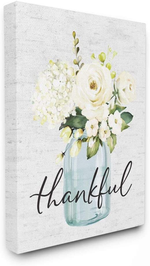 Stupell Industries Finally popular brand Simple New products world's highest quality popular Thankful Phrase Country Floral Ja Over