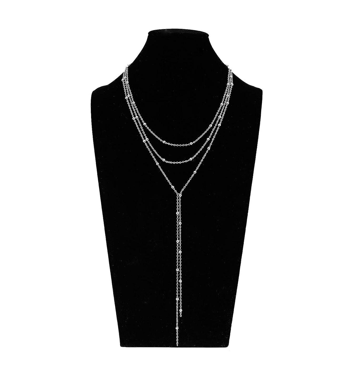 MOLOCH Layer Choker Long Chain Tassel Pendant Necklace for Women Girls Handmade Bead Station y Necklace Charm Chain Jewelry Necklace