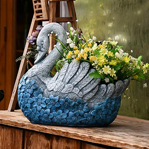 erddcbb Blue Swan Shape Large Plant Pot Hand Cast Stone Embossed Flower Garden Ornament Heavy Flower Planter Basket Decor,17inches