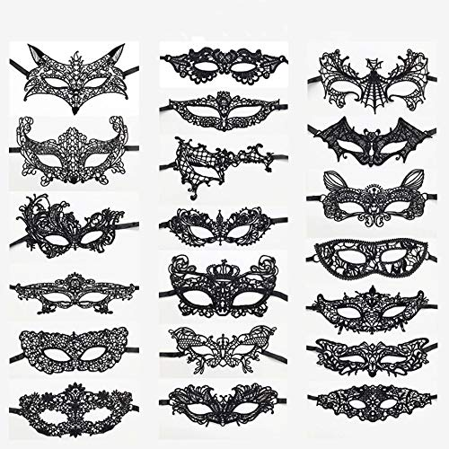20pcs Máscaras de Encaje Negro Máscaras Venecianas Unisex , Para Fiesta Carnaval Halloween Disfraz de Carnaval Veneciano