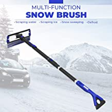 "JOYTUTUS Car Snow Brush with Ice Scraper, 180° Extendable Auto Foam Snow Remover Brush with Squeegee, 47""Car Snow Scraper and Brush, Car Snow Broom Groove Stable Design, Labor Saving Durable,Blue"