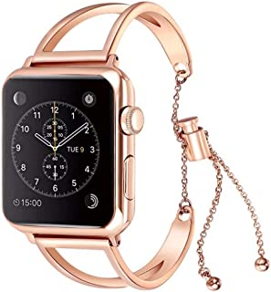 WONMILLE Bracelet for Apple Watch Band 40mm, Classy Stainless Steel Jewelry Bangle for iWatch Bands Strap Wristbands Unique Fancy Style for Women Girls with Pendant and Tassel (40mm Rose Gold)