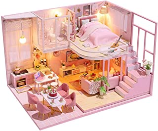 piberagi Dollhouse DIY Miniature Dollhouse Kit Mini Doll House Accessories Wooden Model Kits with Furniture Toy Plus Dust ...