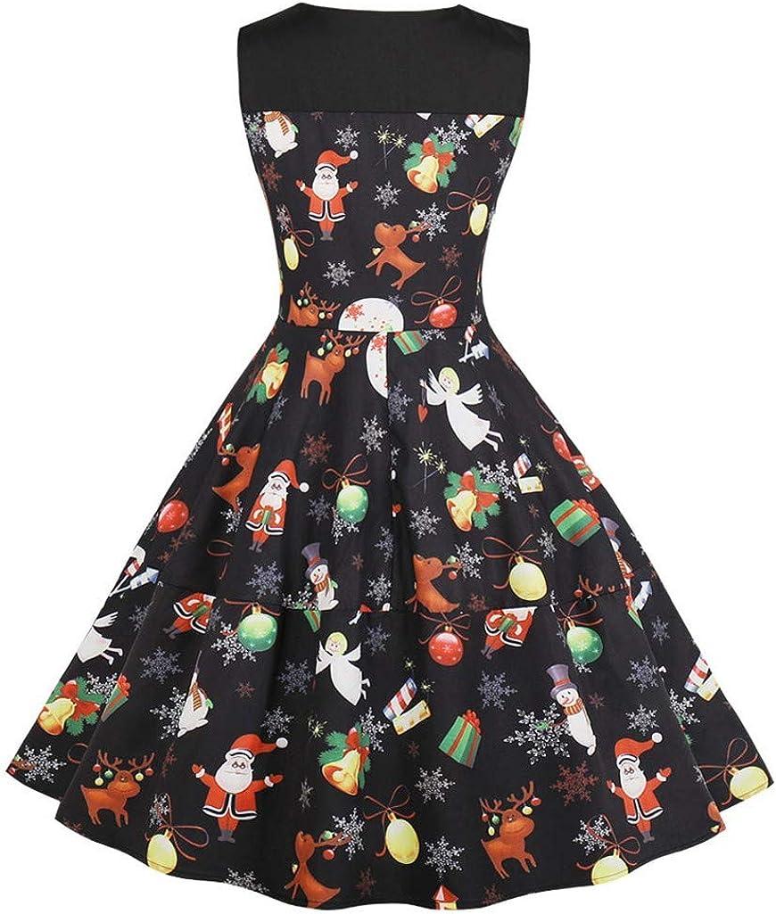 NPRADLA 2020 Kleider Elegant Kostüm Retro Damen Frauen Fledermaus Ärmellos Cocktailkleid Knielang Rockabilly Kleid Bedruckte Vintage Abend Party Y3-schwarz