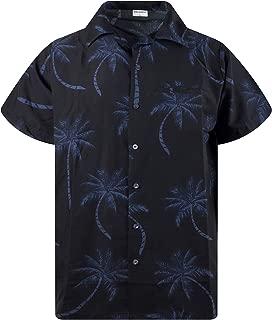 King Kameha Funky Hawaiian Shirt Men Shortsleeve Frontpocket Hawaiian-Print Leaves Flowers Palm Shadow