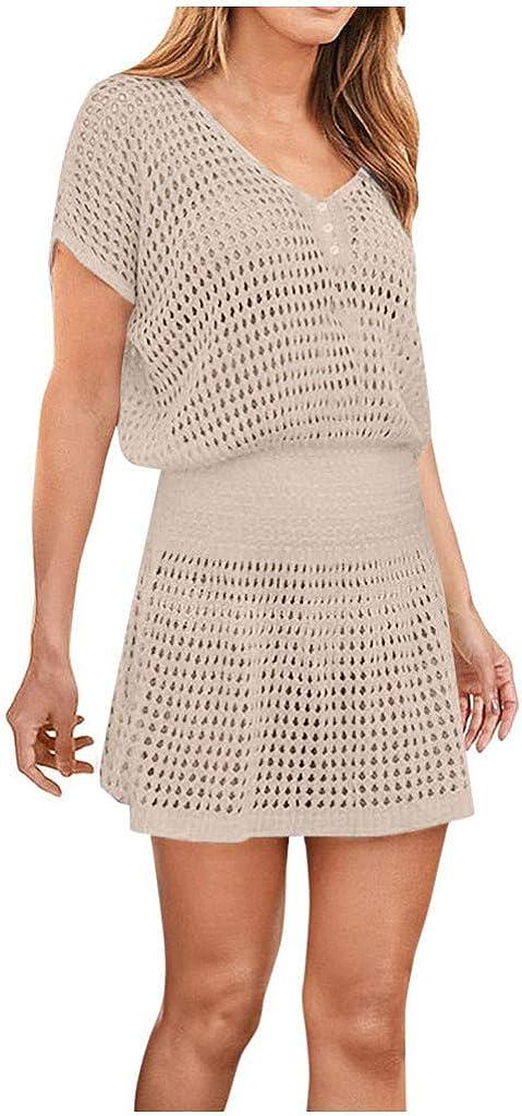 iQKA Women's Bathing Suit Cover Ups Sexy Elastic Waist Bikini Crochet Lace Holiday Beach Dress