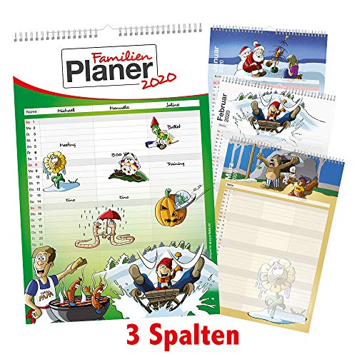 Familienplaner/Familien-Kalender 2020 im XXL-Format mit 3 Spalten, 29,7cm x 44cm - Wandkalender inkl. Feiertage und Ferientermine