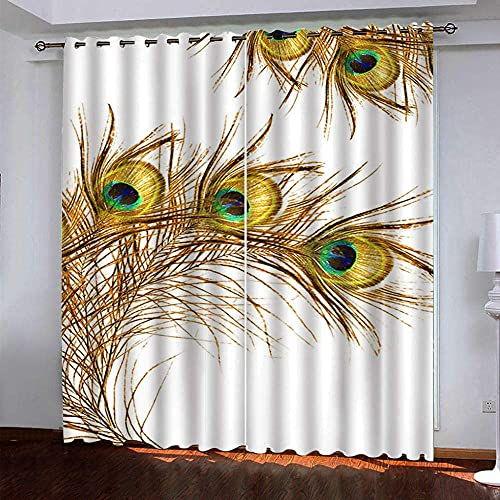 Cortinas Opacas 3D, Cortinas De Fibra De Poliéster Impermeables Y A Prueba De Moho, Coloridas Plumas De Pájaro para Sala De Estar, Oficina Y Dormitorio (2 Paneles) 250 (H) X150 (W) Cmx2