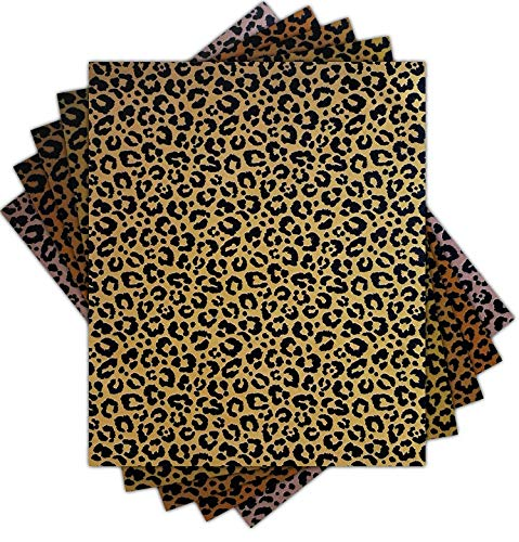 Pumpkin Brother Gold Leopard Iron on Fabric - Unique Heat Transfer Fabric Pack of 5 Color Sheets DIY Sublimation Fabric 12x10 Inch for Cutting Machine Silhouette Cameo