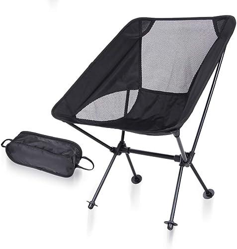 Chaise de Camping en Plein air Pliante en Plein air ZJING Noire Ultra-portable Chaise de Lune Rouge Chaise de pêche en Aluminium Orange Aviation (53  35  67 cm)