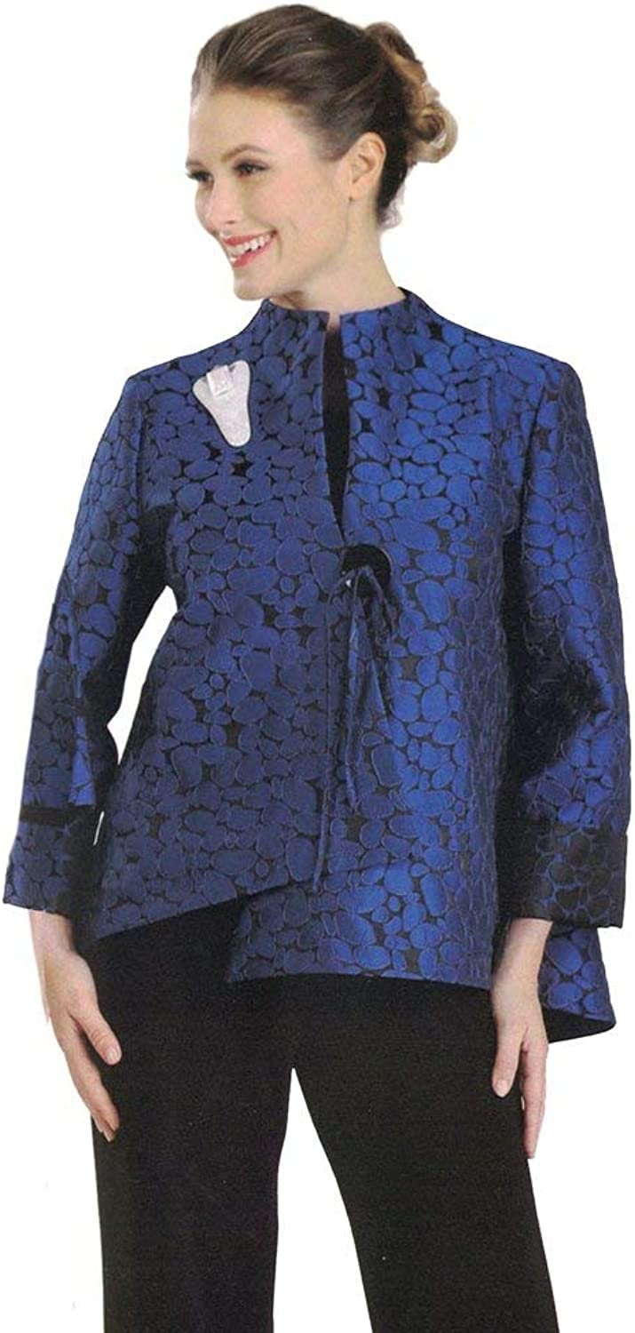 IC Collection Jacquard Asymmetric Jacket in bluee Black
