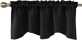 Deconovo Blackout Window Valance for Kitchen Solid Rod Pocket Scalloped Valance Short Curtain Panels 42x18 Inch Black 1 Drape