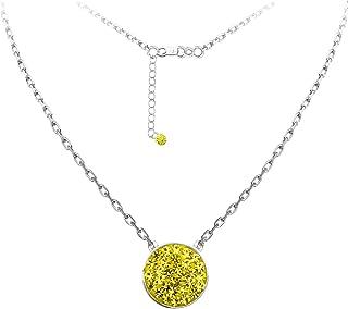DiamondJewelryNY Silver Pendant, Spirit Disc Nk/Univ of Michigan/Yellow