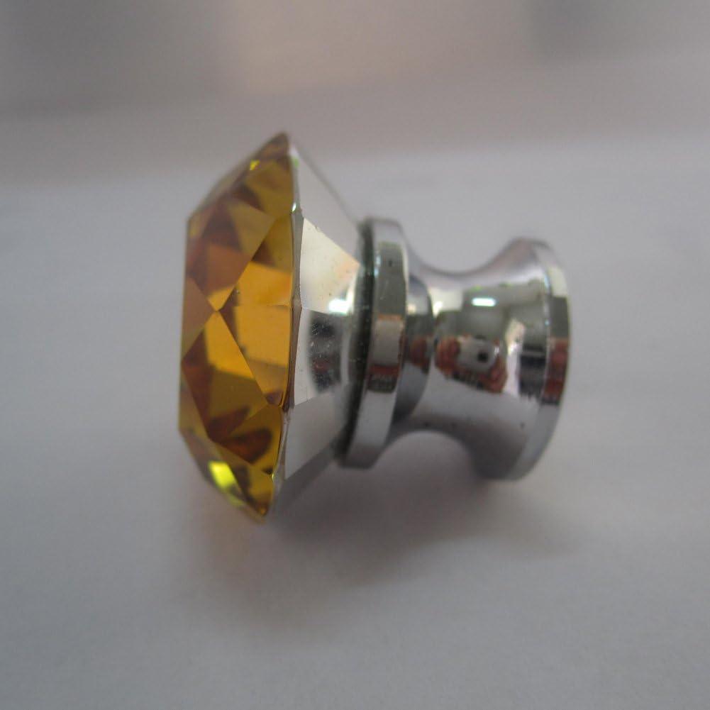 tangpan 30mm Base en verre cristal alliage boutons de porte de tiroir armoire poignée de traction, vert Amber