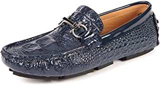 QinMei Zhou Driving Loafer for Men Moccasin Boat Shoes Slip on Style Crocodile Pattern Genuine Leather Vamp Decor with Chain (Color : Blue, Size : 10 UK)