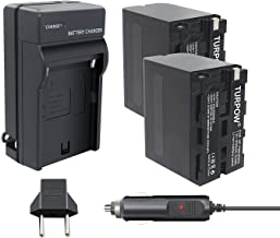 TURPOW NP-F960 NP-F970 Battery Charger Set Compatible with Sony NP-F975 NP-F950 NP-F930 for DCR-VX2100 HDR-AX2000 FX1 FX7 FX1000 HVR-HD1000U V1U Z1P Z1U Z5U LED Video Light [ 2 Pack 8700mAh ]