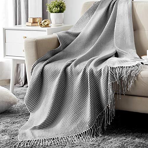 Hansleep TagesdeckeWohndecke 130 x 150 cm Leichte und Luftige Kuscheldecke Waffelpique Decke Doppelseitige Sofadecke sehr Angenehmer Überwurf für Sofa und Bett Weiß/Grau