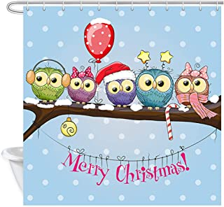 DYNH Christmas Shower Curtain, Greeting Christmas with Five Gnomes and Five Owls Bath Curtains, Fabric Winter Holiday Shower Curtain Bathroom Accessories 12Pcs Hooks, 69X70IN