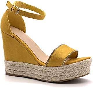 95449ce3868e6 Angkorly - Chaussure Mode Sandale Espadrille lanière Cheville Confortable  Plateforme Femme avec de la Paille lanière