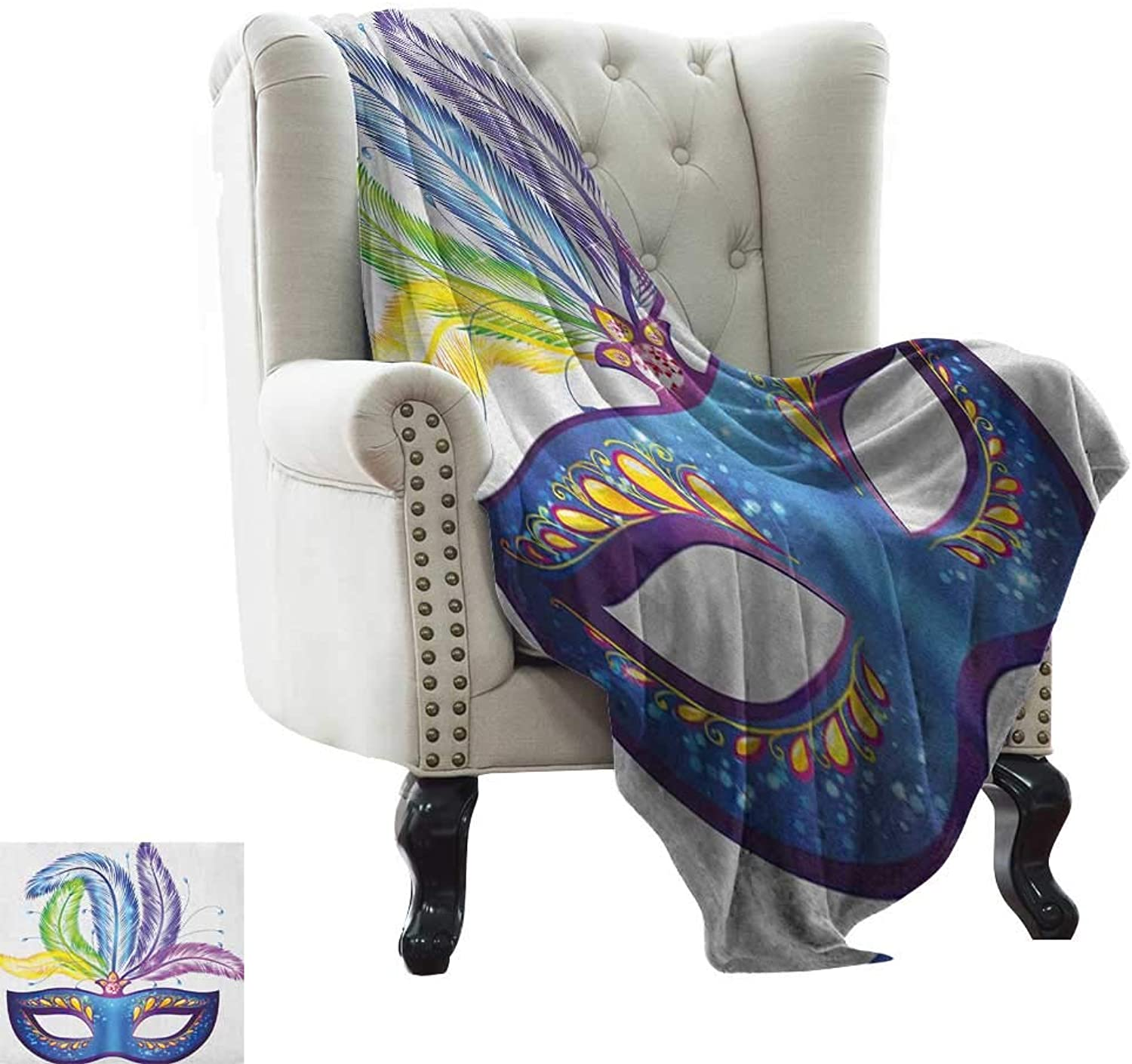 BelleAckerman Weighted Blanket for Kids Mardi Gras,bluee Ornate Venetian Festival Mask with Feathers Masquerade Parade Preparations, Multicolor Blanket for Sofa Couch TV Bed All Season 35 x60