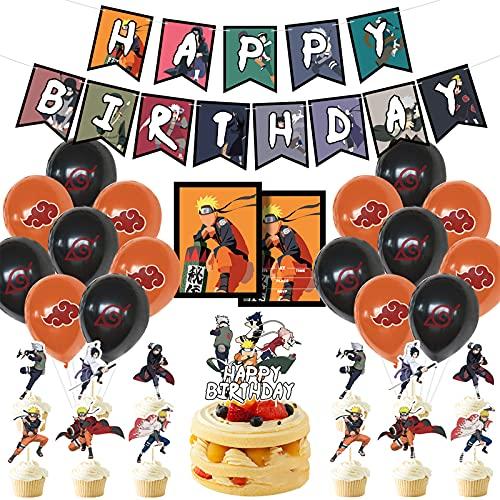 Xinqin Naruto Fête dAnniversary Ballon Décorations, Japonais Anime Thème Manga Noir Orange Blanc Ballons en Latex, Joyeux Anniversaire Bannière Gâteaux Toppers pour Garçon, Fête Maison Déco