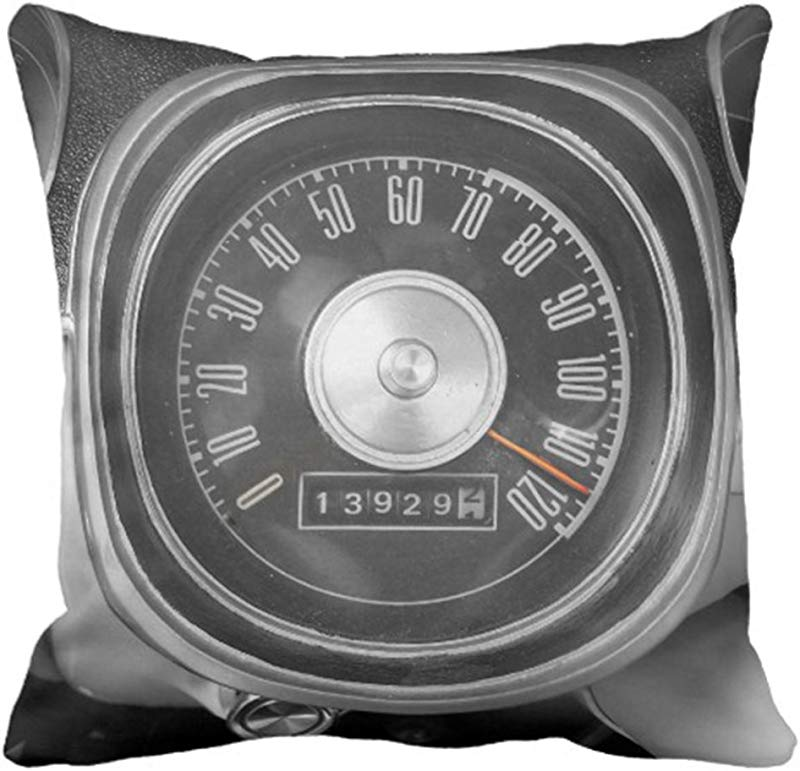 Emvency Throw Pillow Cover Vintage 1967 Muscle Car Speedometer Black Mph Decorative Pillow Case Home Decor Square 18 X 18 Inch Pillowcase