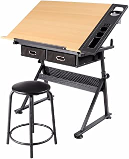 go2buy Height Adjustable Drawing Drafting Table Tiltable Tabletop Writing Art Craft Work Station with Stool