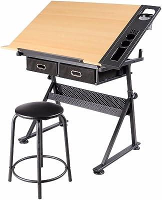 Popamazing 2Schubladen neigbar Tischplatte Ausarbeitung Zeichentisch Art Craft Schreibtisch mit Hocker